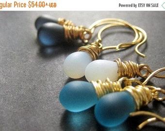 VALENTINE SALE Blue Earrings Set of Three. Briolette Earrings. Dangle Earrings Wire Wrapped in Gold. Handmade Earrings.