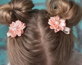 Peach hair clip, piggy tail hair clip, flower hair accessory, girl birthday gift, cake smash outfit, toddler hair clips, baby shower gift