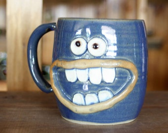 Crazy Happy Smiley Face Mug Googly Eyes Funny Coffee Cups. Blue Stoneware Pottery Mug. Unique Cool Coffee Cups. Handmade. Over 20 Ounces.