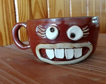 Stressed Mom Mug. Funny Gifts for Her. Woman's Over 16 Oz Soup Mug in Cinnamon Red. Large Latte Cappuccino Cup. Funky Eye Smiley Face.