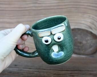 Sleepy Monday Morning Coffee Cup. Funny Face Mug. Green Tea Mug. Hot Chocolate Soup Beer Mug. Funky Cool Coffee Cups. Fun Gag Gift. Green.