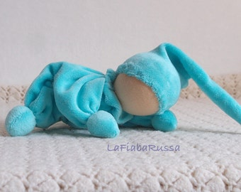MInt turquoise waldorf gnome soft veluor doll for baby boy toys ready to ship - Rattle toy, cuddle.