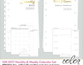 2017 Calendar Personal Size Refill Inserts • Week & Month Color Crush 2017 Personal Planner 12-Month Calendar (P1017)