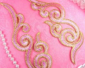 """GB89 Embroidered Appliques MIRROR PAIR Pink Gold Scroll Metallic Iron On Patch 6.75""""  (GB89X-pkgl)"""