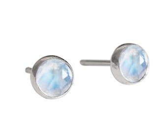 Tiny Gemstone Stud Earrings - Moonstone