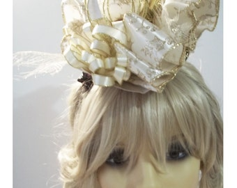 BISQUE/Gold  TRICORN FASCINATOR - Ready to wear with alligator clips