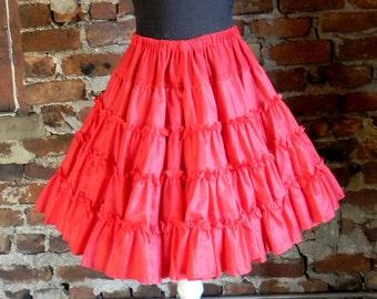 Vintage Ruffled Petticoat, Square Dance Skirt, Can Can Outfit, Circle Skirt Crinoline, 1960s Crinoline Skirt, Rockabilly Swing Dance Slip