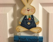 Sweet Farmer Bunny Hand Painted Wood Wall or Door Decoration