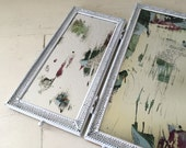 Vintage Vanity Mirror White Tri-fold Altered Art for Cottage and Farmhouse Home Decor