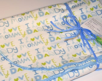 Extra Large - Lime Green and Blue I Love Mommy and Daddy Flannel Receiving Blanket - Swaddle Blanket, Baby Blanket, Receiving Blanket