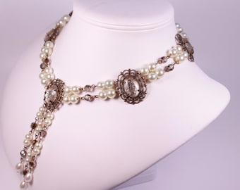 Stardust and Pearl Tudor Necklace Renaissance Medieval Costume Game of Thrones Jewelry