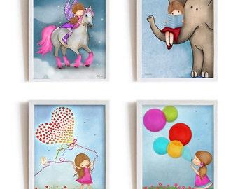 Kids room wall art, prints for girls room, light blue girls room design, illustration, drawing, set of 4 posters,childrens art,nursery decor