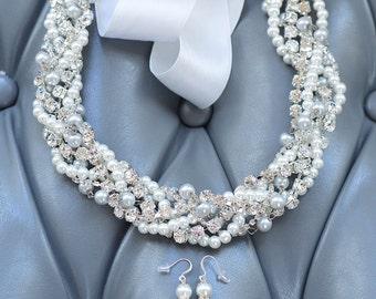 Wedding Necklace For Bride, Pearl Crystal Wedding Necklace, Rhinestone Pearl Necklace, Chunky Statement Necklace, Pearl Statement Necklace