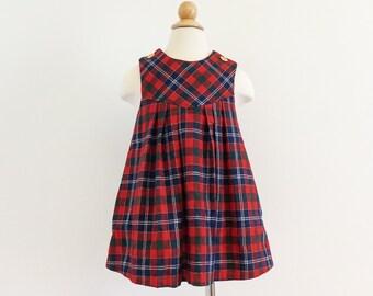 """Vintage 1970s Girls Size 3-4 Dress / Goodlad Jumper Dress VGC / b24"""" L19""""L Red Green Blue Plaid Wool"""