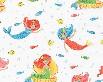 Aquatic Friends Fabric by Robert Kaufman Tossed Mermaids Fish and Seahorses in Marine