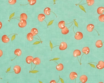 MODA Farmhouse Fig Tree Quilts Fabric Cherries Fruit Cherry Picking on Pond Aqua Blue