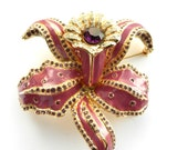 Beautiful Enamel purple rhinestones Orchid Flower Pin - Made in Italy mark- large flower brooch in original case - art.278/4 -