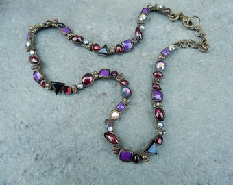 Sorelli Classic Necklace in Plum & Purple (RK)