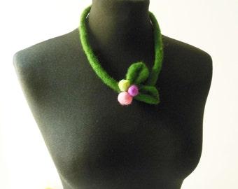 felt winter fruit necklace, eco friendly, statement necklace