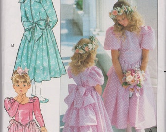 Vintage 1980's Butterick Uncut Sewing Pattern 3038 Couture Girls' Dress Size 7-8-10