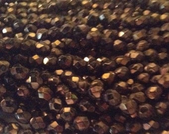 Vintage metallic coffee faceted beads 7 mm Lot of 27 beads fire polished