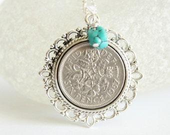 December birthday necklace. Birthstone necklace. Turquoise birthstone necklace.  Birth stone jewelry. Birth year gift. Birthday gift woman