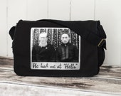 Messenger Bag - He Had Me at Hello - Vintage Photograph - School Bag - Black - Canvas Bag