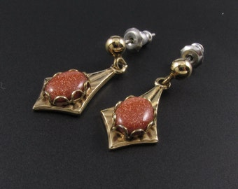 Goldstone earrings, Adventurine Glass Earrings. Gold Earrings, Sparkly Earrings