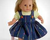 """15 inch doll clothes made to fit dolls such as Bitty Baby, Corolle 14"""" baby doll, Denim Skirt with Striped Lime Blouse, 01-0819"""