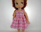 Designed to Fit the Disney Animator Collector Doll, Pink White Plaid Heart Sundress, 01-0823