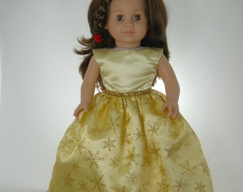 18 inch dolls to fit dolls such as American Girl, Yellow Gold Snowflake Dress, 09-1340