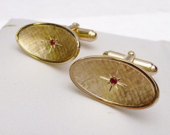 Red Rhinestone Men's Concave Etched Yellow Tone Cufflinks 1960s