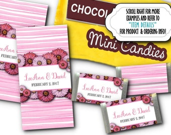 36 Miniature Candy Wrappers, Baby Shower, Bridal Shower, Birthday Party, Weddiung, Engagement, Quinceanera,Floral Design, 5 Colors