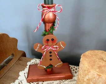 Gingerbread Man Candle Holder / Christmas Gingerbread Man / Christmas Decor / Wood Candle Holder