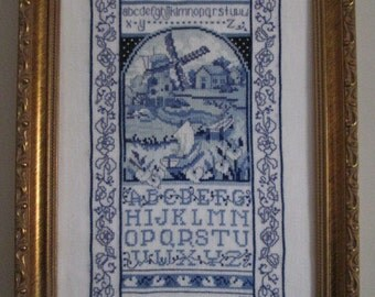 Framed Cross-Stitched Sampler: Dutch Windmill