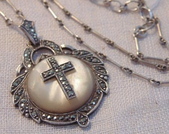 Art Deco Sterling Mother of Pearl Marcasite Cross Necklace Religious Jewelry Art Deco Necklace Art Deco Jewelry