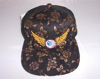 Strapback Flat-Brim Hat - Flying Eyeball (One-of-a-kind)