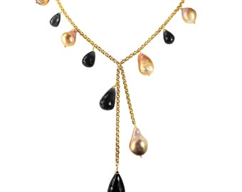 River pearl and smoky quartz gold Y necklace