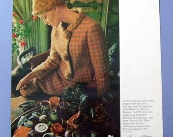 1942  Bill Blass Designer and Nat  Bader of Originala, magazine  Page, Pink Wool Coat with Matching Hat, Photography, Original Ad, Model ad