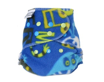 Cloth Diaper Cover OS, Fleece - Monsters, music, rock and roll, blue