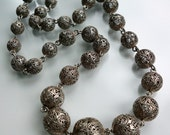 RESERVED Silver Filigree Bead Necklace Italy 1940s