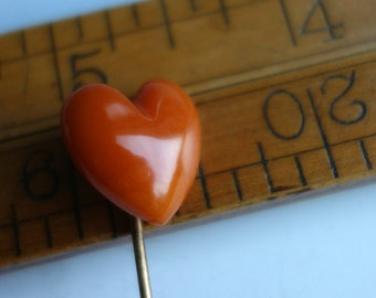 Antique Butterscotch Amber Carved Heart Stick Pin