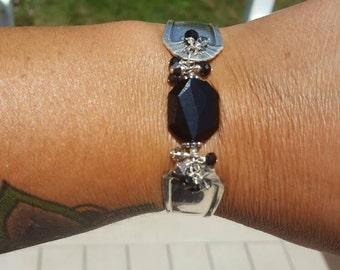 Black Swarovski Silver Spoon Bracelet