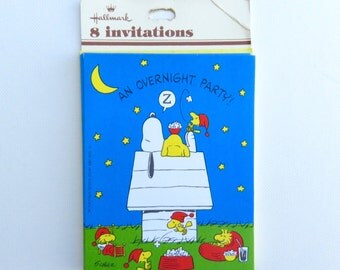 VIntage Snoopy Overnight Party Invitations Set of 8