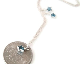 Sixpence Anklet.  Sterling Silver Chain with Clear, Pink, Black or Blue CZ Stars. Queen Elizabeth II. Pick Your Own Year. 1953 to 1967