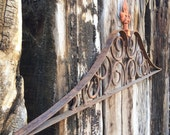 "Large 33"" vintage rusted iron gate pediment reclaimed salvage, outdoor garden rustic decor, architectural salvage pediment heavy iron topper"