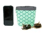CAR CELLPHONE CADDY, Green Quatrefoil, Sunglasses Case, Golf Cart Bag, Pool Chair Holder, Mobile Accessories, Smartphone Case, Golf Gift