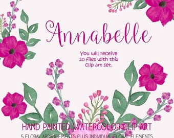 Instant Download - Hand Painted Watercolor Pink Flowers Floral Arrangement Clip Art Set - Item# 100