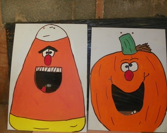 TWO Games pumpkin and  candy  corn   bean  hole  game   with 6  bean bags