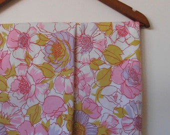 flower power in pink and acid green...pair of vintage cotton pillowcases